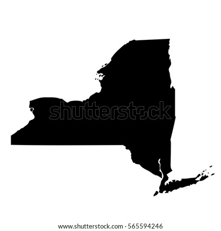 Map New York State Usa Mercator Stock Illustration - Map of us black