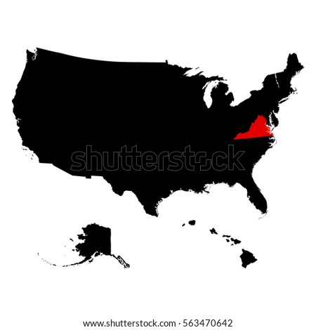 Virginia State United States Map Stock Vector Shutterstock - Us map virginia