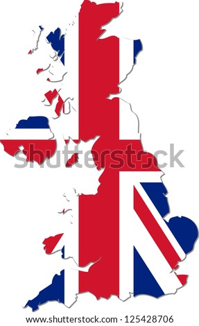 Map of the United Kingdom of Great Britain and Northern Ireland with national flag isolated on white background (raster illustration) - stock photo