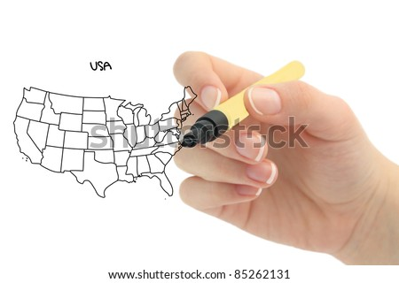 Map of the United States - stock photo