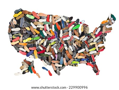 Map of the United States laid out different shoes - stock photo