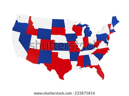 Map of the United States of America - stock photo