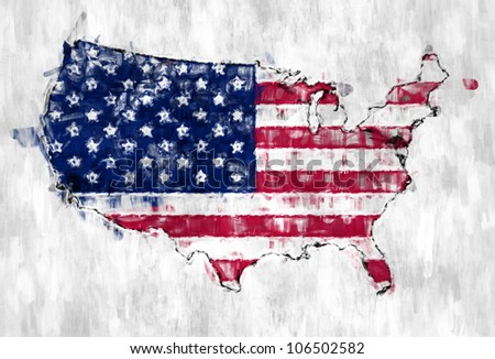 Map of the United States of America hand painted with brushes - stock photo