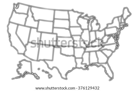 map of the united states of america with black outline on white background with internal borders - stock photo