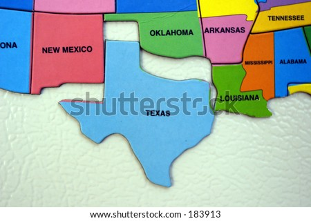 Map of the USA, south west, texas - stock photo