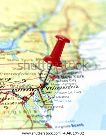 Map Of The Usa With Pin Set On Philadelphia