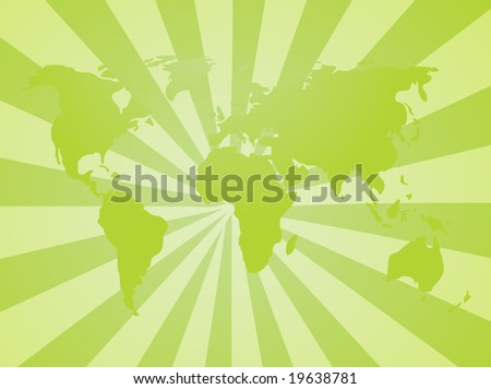 Map of the world illustration, with radial background
