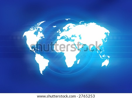 Map of the world in front of an abstract blue background. - stock photo
