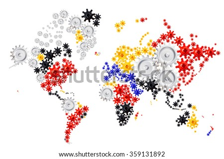 map of the world made of multicolored gear wheels on white background, concept of worldwide connection of everything, the globe is getting smaller every day - stock photo