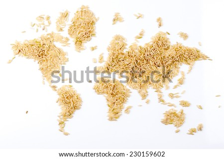 map of the world made of raw natural rice on white background - stock photo