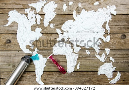 Map of the world made of shaving foam - stock photo