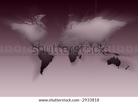 Map of the world on gradient background.
