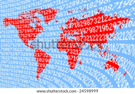 map of the world overlaid with financial data; suggests global recession, global markets etc; background, concept etc - stock photo