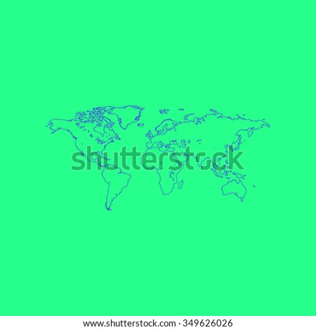 Map of the world. Simple outline illustration icon on green background - stock photo