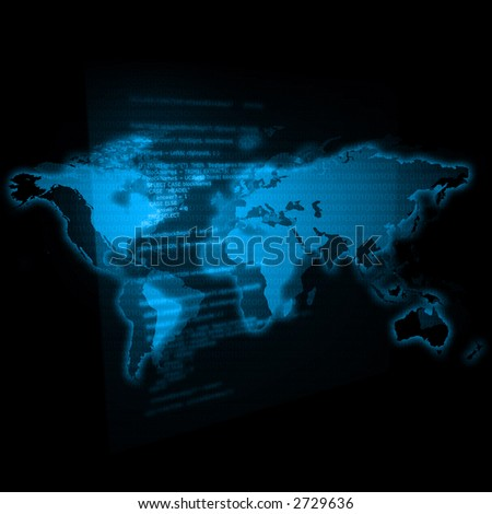 map of the world / transparent chart with programming code - stock photo