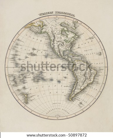 Map of the world, western hemisphere, showing north and south america, south pole, dated 1840 - stock photo