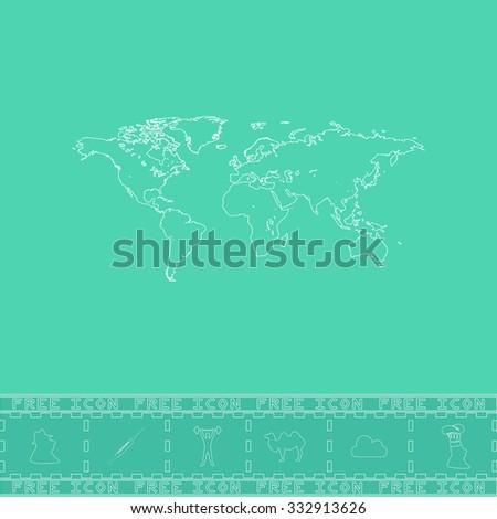 Map of the world. White outline flat icon and bonus symbol. Simple illustration pictogram on green background - stock photo