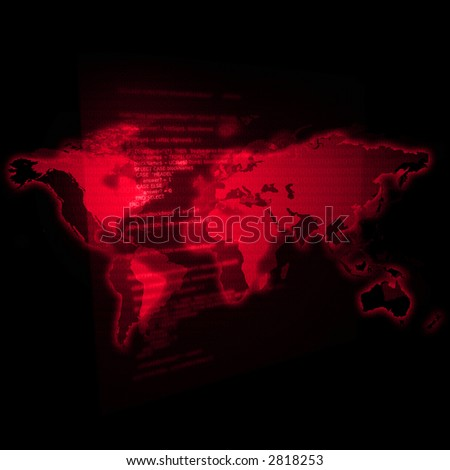 Map of the world with a transparent chart of coding. - stock photo