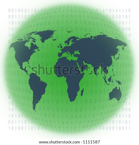 map of the world with binary code - stock photo