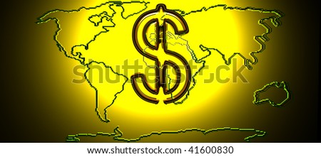 Map Of The World With Gold Dollar Sign. 3d Render - stock photo