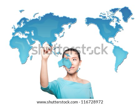 Map of the world women - stock photo