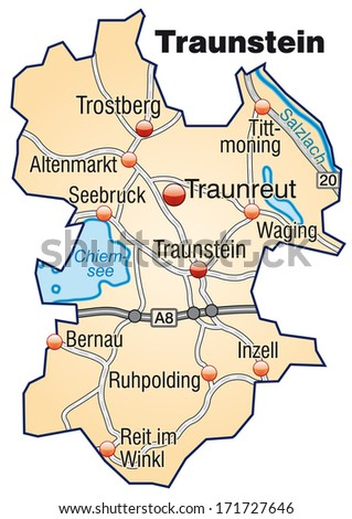 Map of Traunstein with highways in pastel orange
