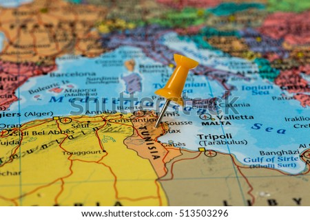 Map of Tunisia with a orange pushpin stuck