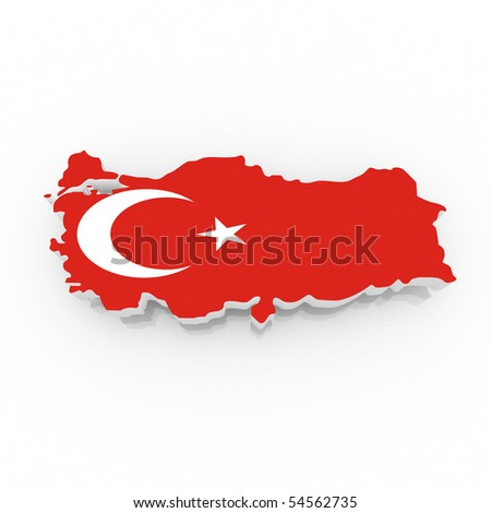 map of turkey filled with flag. Clipping path included. - stock photo