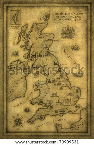 Map of UK. Ink & pencil on paper. - stock photo