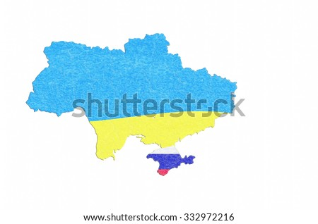 Map of Ukraine, map with the breakaway province of Crimea with Russia flag.