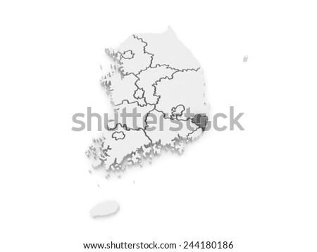 Map of Ulsan. South Korea. 3d - stock photo