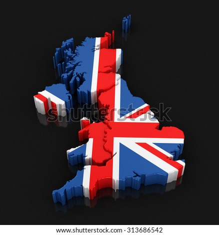 Map of United Kingdom. Image with clipping path.