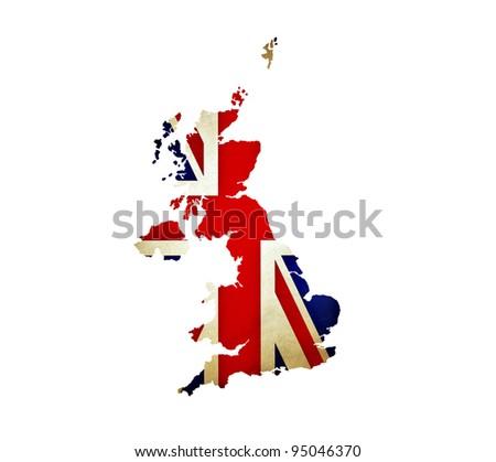 Map of United Kingdom isolated - stock photo