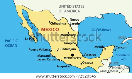 map of United Mexican States. - stock photo