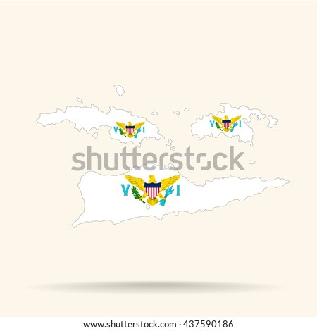 map of united states virgin islands in united states virgin islands flag colors