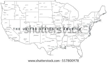 Map Usa United States America Monochrome Stock Illustration