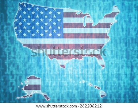 map of usa with administrative divisions over digital background - stock photo
