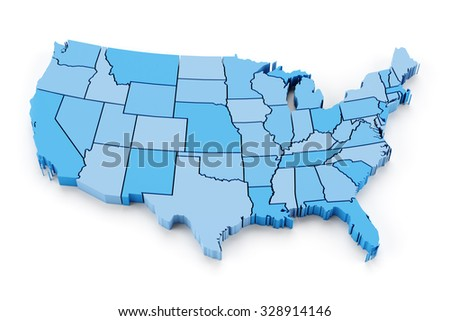 Map of USA with state borders, 3d render