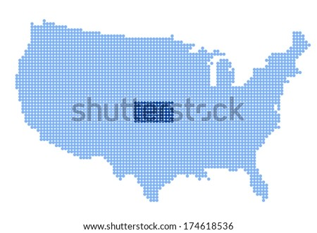 Map of USA with stylized map of Kansas made from blue dots - stock photo