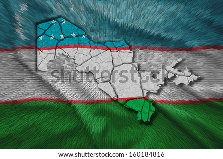 Map of Uzbekistan in National flag colors - stock photo