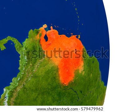 Map of Venezuela in red on planet Earth. 3D illustration with detailed planet surface. Elements of this image furnished by NASA.