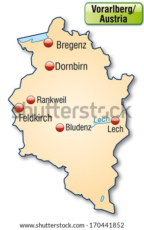Map of Vorarlberg as an overview map in pastel orange