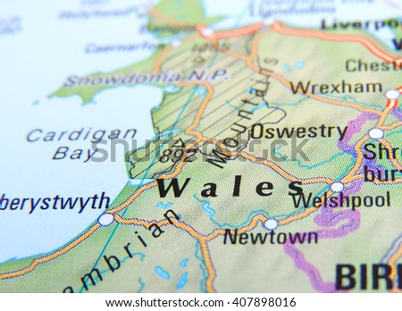 Map of Wales with selective focus - stock photo