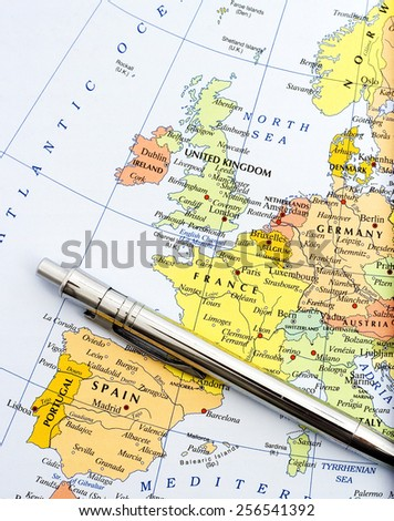 Map of Western Europe - stock photo