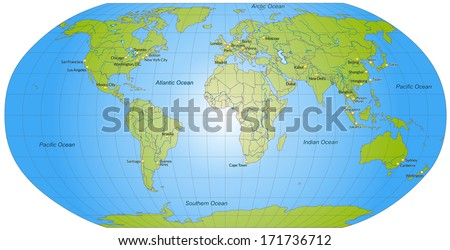 Map of world with main cities in green - stock photo