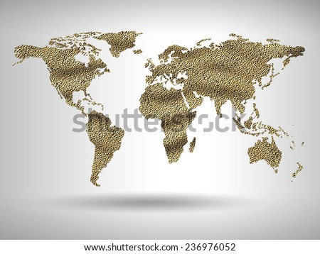 map of world with trendy  design - stock photo