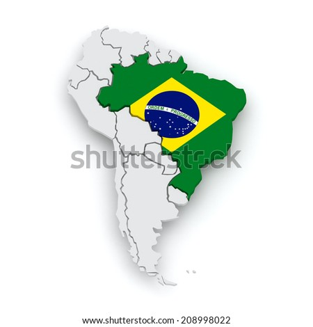 South america contoured map highlighted brazil stock vector map of worlds brazil 3d gumiabroncs Choice Image