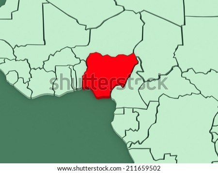 Map of worlds. Nigeria. 3d
