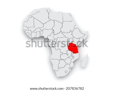 Map of worlds. Tanzania. 3d - stock photo