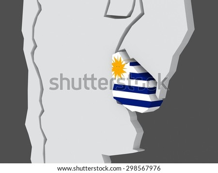 Map of worlds. Uruguay. 3d - stock photo